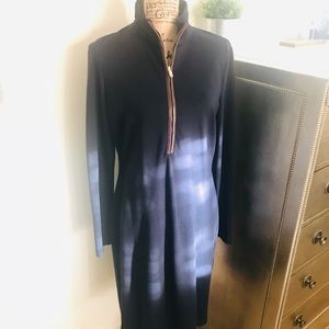 RALPH LAUREN NAVY DRESS WITH FAUX LEATHER